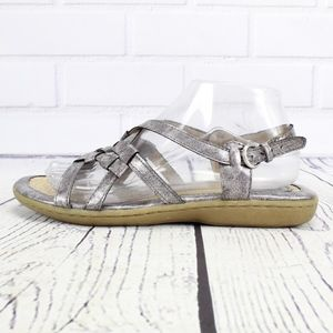 BOC Silver Pewter Slingback Strappy Sandals Size 8
